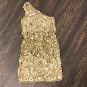 Matte Gold Sequin one shoulder dress